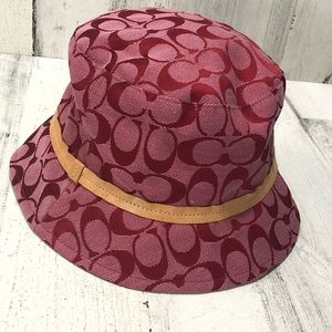 Coach Signature Red Bucket Hat with Tan Band